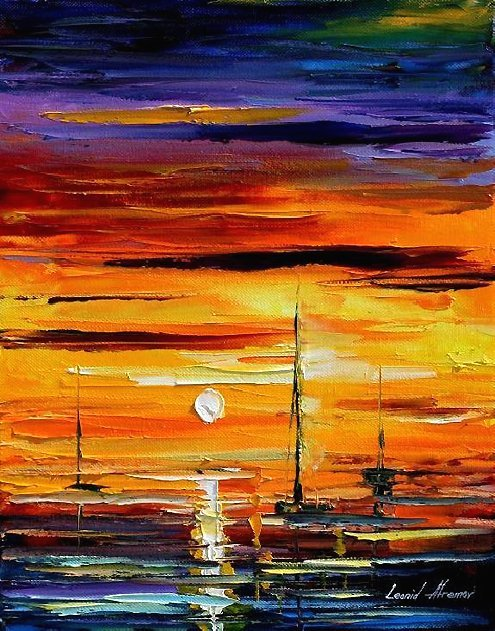 290: Original Oil on Canvas by L.Afremov Triple Sail $3