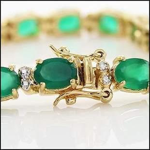 13 CT Green Agate Diamond Tennis Bracelet