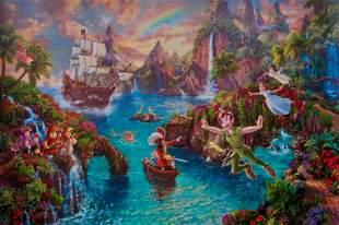 THOMAS KINKADE Peter Pan & Captain Hook in Neverland