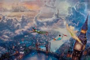 THOMAS KINKADE Peter Pan & Tinker Bell Flying to