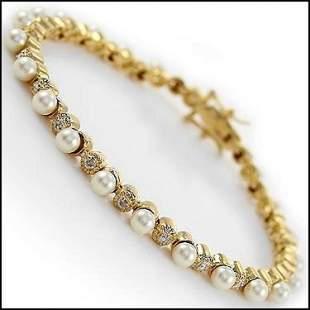 8.07 CT Freshwater Pearl & Diamond Designer Bracelet
