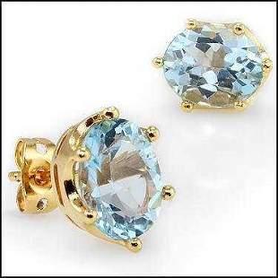 5.50 CT Swiss Blue Topaz Stud 18KGP Designer Earrings