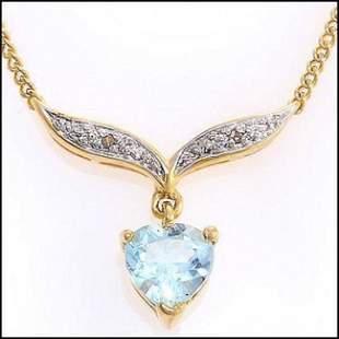 1.32 ct Blue Topaz & Diamond Deasigner Necklace $875