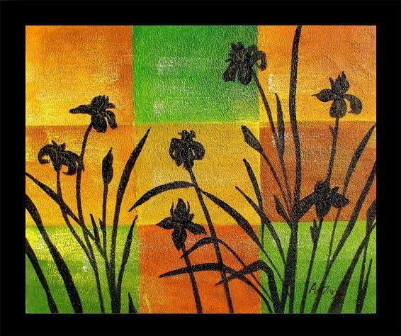 4: Framed Hand Signed Oil Painting Spring Irises
