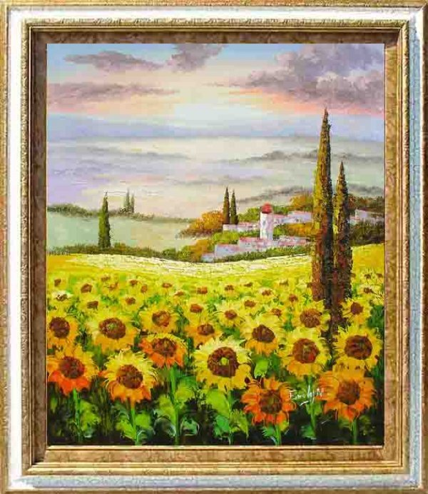 5: Framed Hand Signed Oil Painting Valley of Gold