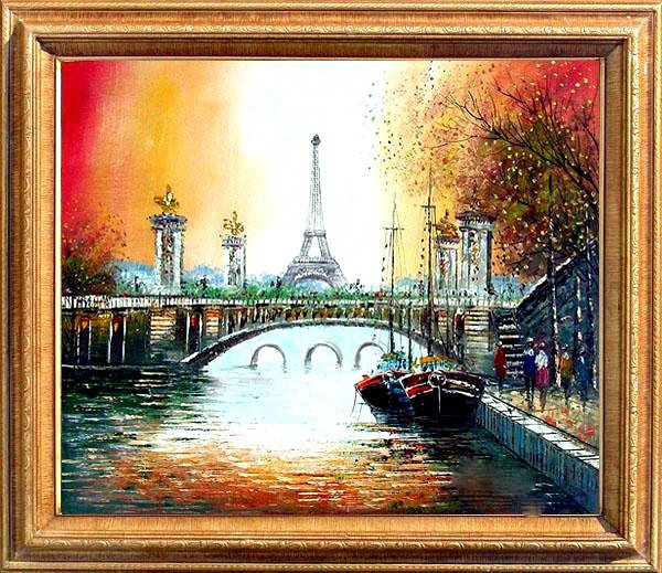 8: Framed Hand Signed Oil Painting Sunset over Paris