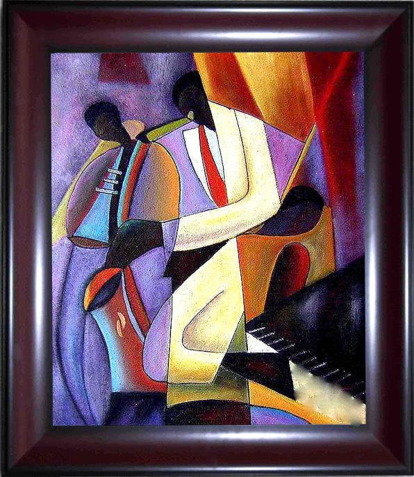 22: Framed Hand Signed Oil Painting Hot Jazz