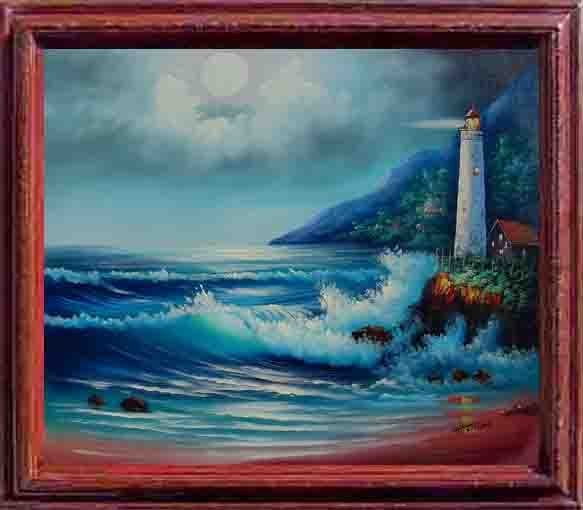24: Framed Hand Signed Oil Painting Guardian of Light