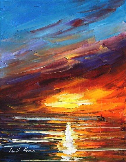 287: Original Oil on Canvas L.Afremov Shaft of Light $3
