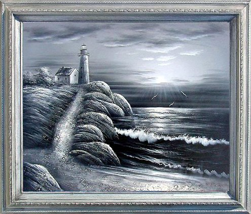 14: Framed Hand Signed Oil Painting Ocean Lighthouse