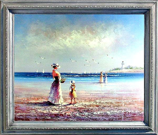 20: Framed Hand Signed Oil Painting By the Seashore