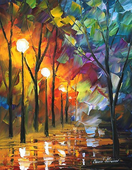 288: Original Oil on Canvas L.Afremov Slippery When Wet