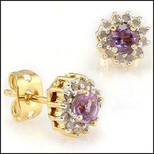 0.63 Cts Amethyst & Diamond Designer Earrings $715