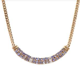 1.68 Cts Tanzanite & Diamond 18KGP Designer Necklace