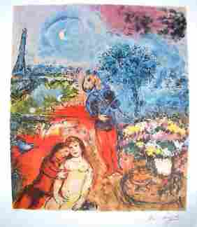 Marc Chagall Signed Litograph - Eiffel Tower Serenity