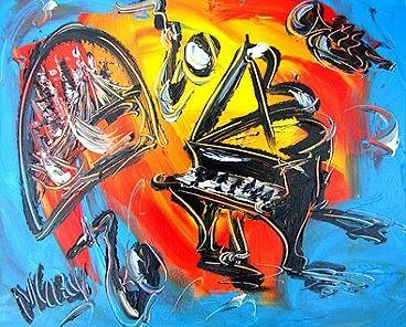 4: Downtown Jazz Original Acrylic Mark Kazav
