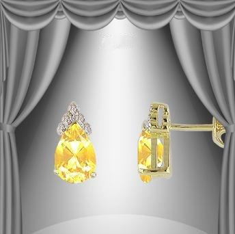 22: 1 CT Citrine Diamond Earrings Fine Jewelry