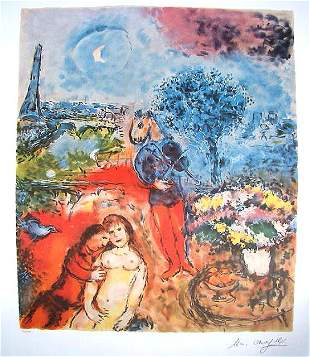 Marc Chagall Signed Litograph - Eiffel Tower Serenade