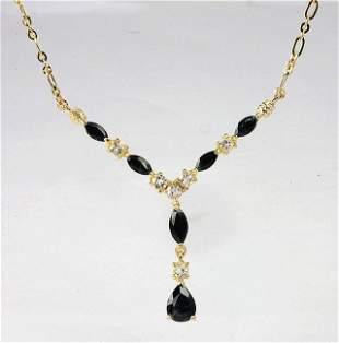 4.10 Cts Sapphire & White Topaz 18KGP Necklace
