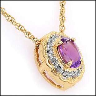 0.76 Cts Amethyst & Diamond 18KGP Designer Necklace