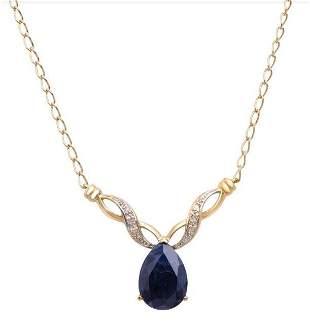 6.10 Cts Sapphire & Diamond 18KGP Designer Necklace