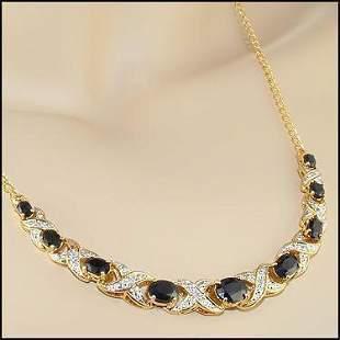 5.29 CT Sapphire & Diamond 18KGP Designer Necklace