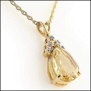 3.79 CT Pear Shape Citrine & Diamond 18KGP Designer