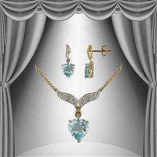4.17 CT Topaz & Diamond Hearts Fine Designer Set