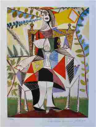 Picasso GIRL IN COLORFUL DRESS Estate Signed Giclee