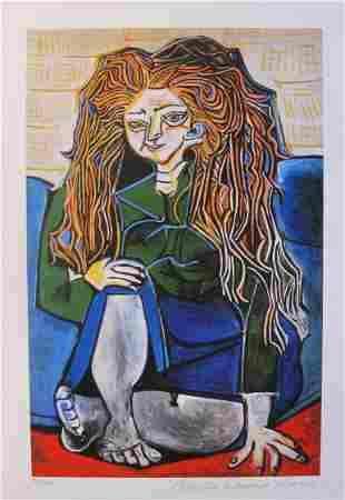 Picasso WOMAN SITTING CROSS LEGGED Estate Signed Giclee