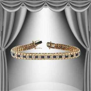 5.04 CT Sapphire & Diamond Designer 18KGP Bracelet