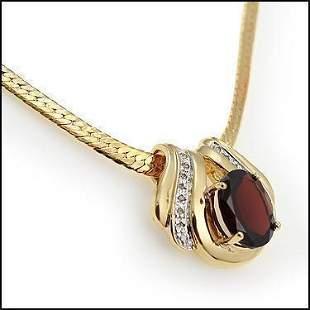 6.14 Cts Garnet & Diamond 18KGP Designer Necklace