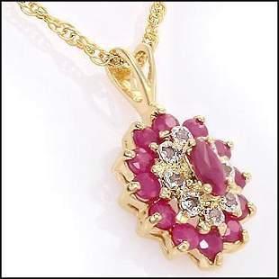 1.36 CT Ruby & Diamond 18KGP Designer Necklace $1,310