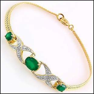 1.82 CT Green Agate & Diamond 18KGP Designer Bracelet