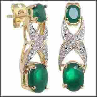 2.66 CT Green Agate & Diamond 18KGP Designer Earrings