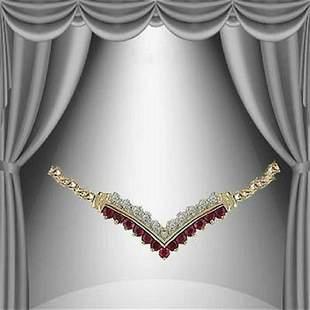 0.71 Ct Ruby & Diamond Designer 18KGP Necklace