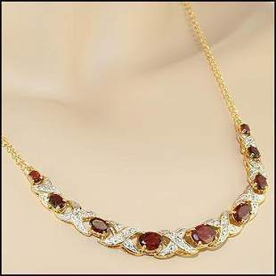 5.19 CT Garnet & Diamond Designer Necklace $1,500