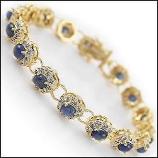 7.26 Ct Cabochon Blue Sapphire & Diamond Bracelet