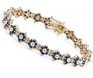 9.74 Ct Sapphire & Diamond Designer Bracelet $2,125