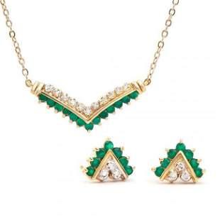 1.05 ctw Green Agate & Diamond Designer Set $1,335