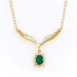 0.82 ct Green Agate & Diamond Designer Necklace $825