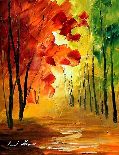 290: Original Oil on Canvas L.Afremov Fall Beauty $3,50