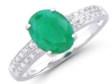 2.01 Ct Certified Green Emerald & Diamond 14K Designer