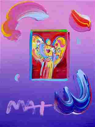 Peter Max ANGEL WITH HEART Signed Mixed Media Painting