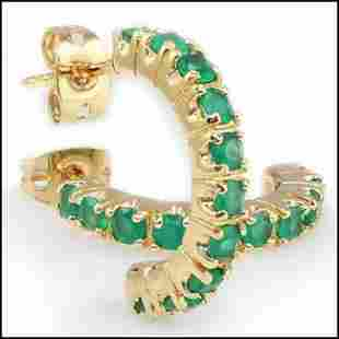 1.20 Cts Green Agate Hoops 18KGP Designer Earrings