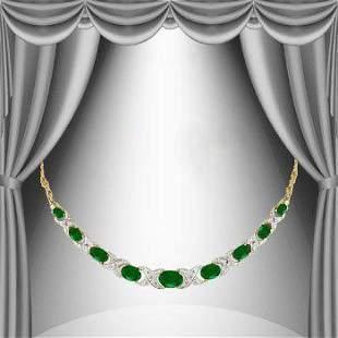 5.29 Cts Green Agate & Diamond 18KGP Elegant Necklace