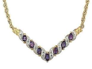 2.72 Cts Amethyst & Diamond Designer Necklace