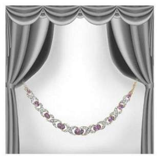 5.19 Cts Amethyst & Diamond 18KGP Designer Necklace