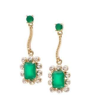 4.64 CT Green Agate & Diamond Designer Earrings $1,130