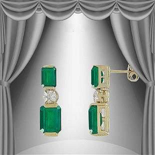 2.50 Cts Green Agate & Diamond 18KGP Designer Earrings